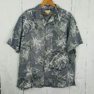 Panama Jack Gray Floral Short Sleeve Button Up XL
